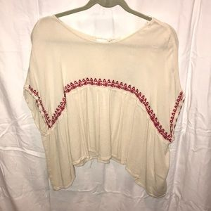 Cream/red blouse